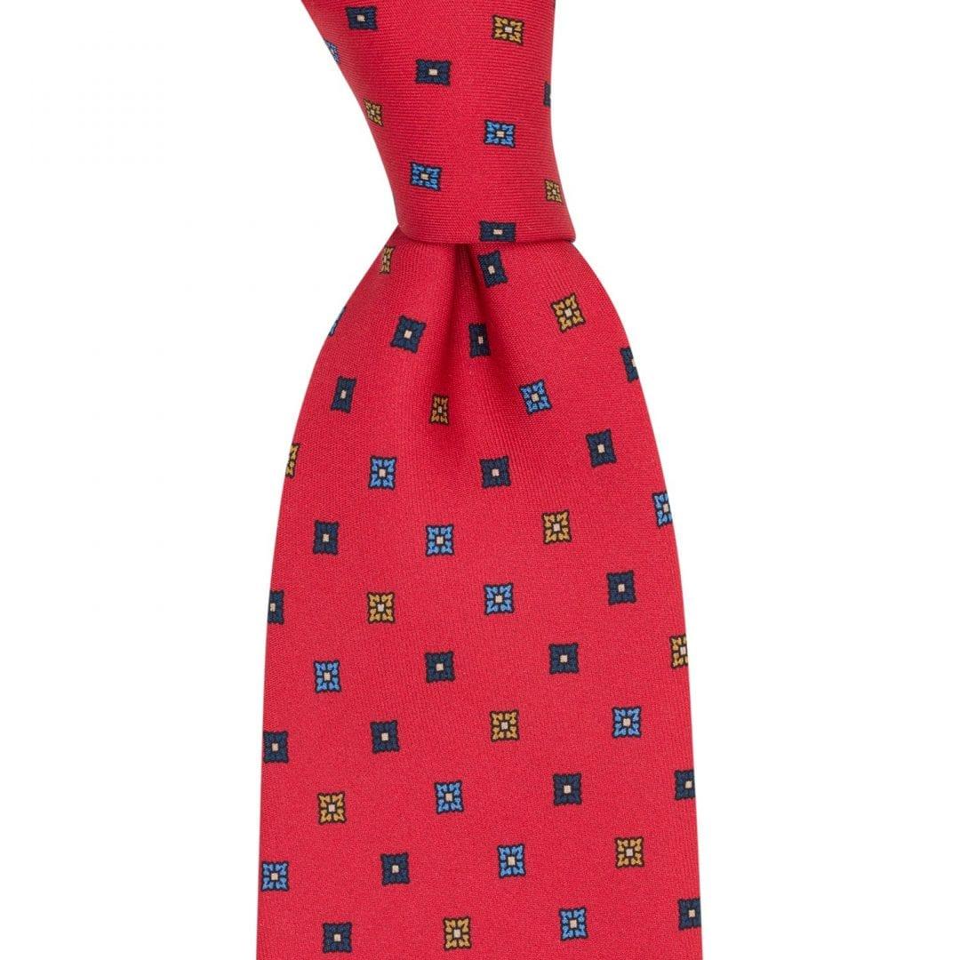 Jedwabny krawat - czerwony w regularny wzór - Macaroni Tomato